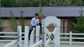 The rider training at the arena stock video footage