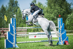 The rider on the white show jumper horse overcome high obstacles in the arena for show jumping on background blue sky Stock Photography