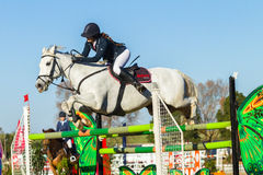 Rider Woman Horse Jumping Photos stock