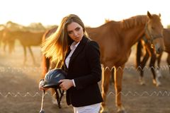 Free Rider Woman With Whip At The Sunset Royalty Free Stock Images - 123405389