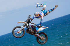 Rider Xavi Dols. FMX Freestyle.Extreme Barcelona Royalty Free Stock Photography