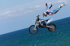 Rider Xavi Dols. FMX Freestyle.Extreme Barcelona Royalty Free Stock Photo