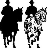 Riders. Silhouette of horse riders Stock Photos