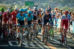 Tour de Yorkshire 2018. Riders approaching the summit of the Cote de Cow and Calf for the finish of stage 2 of the Tour de yorkshire 2018 Stock Photography