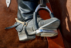 Riders boot. Picture of a riding boot close up Stock Photography
