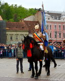 Riders during Brasov Juni parade Royalty Free Stock Photo