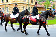 Riders during Brasov Juni parade Royalty Free Stock Photography