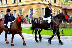 Riders during Brasov Juni parade Stock Photo