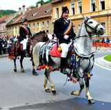 Riders during Brasov Juni parade Royalty Free Stock Photos
