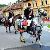 Riders during Brasov Juni parade Royalty Free Stock Photos