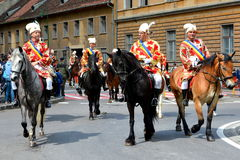 Riders during Brasov Juni parade Royalty Free Stock Image