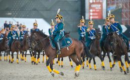 Riders of cavalry honorary escort of Presidential Regiment Royalty Free Stock Images
