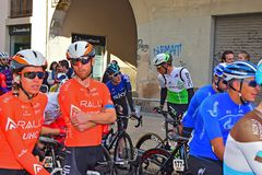 Riders Chat Before The Start Of A Cycle race stock images