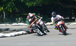 Riders. Are competing in the road race at a circuit in the city of Solo, Central Java, Indonesia Stock Photos