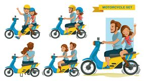 Riders couple. Trip travel relax. romantic Honeymoon Moments. man with woman riding motorcycle different gestures set. Cartoon character. vector illustration royalty free illustration