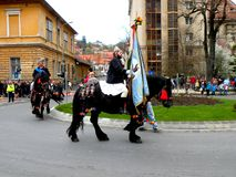 Riders in downtown Brasov Stock Images