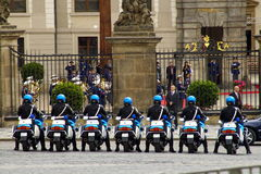 Riders of the guard of honor in Prague. Prague, Czech Republic, May 14, 2009. seven riders of the guard of honor was lined up in front of the presidential Palace Royalty Free Stock Photos