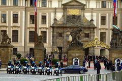 Riders of the guard of honor in Prague. Prague, Czech Republic, May 14, 2009. seven riders of the guard of honor was lined up in front of the presidential Palace Stock Photography