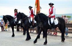 Riders on horse - Carolina citadel in Alba Iulia, Romania Royalty Free Stock Images