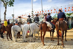 Riders at horse in the Seville Fair, feast in Spain Stock Photography