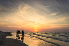 Riders on horseback riding along the seashore at sunset Stock Images