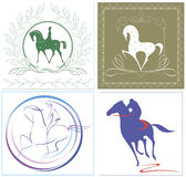 Riders and horses in four graphic  options. Versatile emblems of riders and horses in four graphic  options Royalty Free Stock Photos