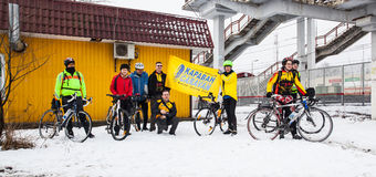 Riders before 200km brevet start. Klimovsk, Moscow Region, Russia - April 4th, 2015: Moscow cycling club Caravan event - 200km brevet(randonneuring, audax) Stock Photo