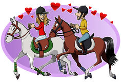 Riders in love. Cartoon-style illustration: two young lovers riding their cute horses Royalty Free Stock Image