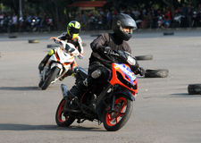 Riders. Motorcycle riders were practicing in the parking lot in the city of Solo, Central Java, Indonesia Royalty Free Stock Photo