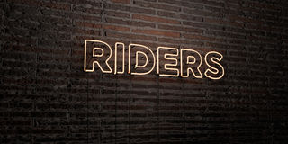 RIDERS -Realistic Neon Sign on Brick Wall background - 3D rendered royalty free stock image Royalty Free Stock Photo