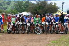 Riders on start stock image