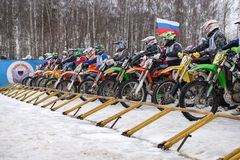 Riders at the start Stock Photography