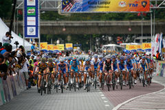 Riders at the start-finish line. At the start-finish line going into the final lap. This is the seventh stage of the international bicycle race, le Tour de Stock Images