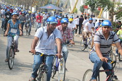 Riders on their bicycles in Republic ride 2013 Stock Image