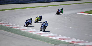 Riders on the track on Moscow Raceway race track Stock Image