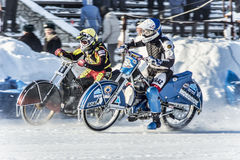 Riders at work. Russia. The Republic Of Bashkortostan. The Ufa. Racing on ice. The Championship Of Russia. A final . February 1, 2014 Stock Image