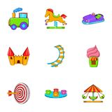 Rides icons set, cartoon style Stock Image