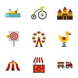 Rides icons set, flat style. Rides icons set. Flat illustration of 9 rides vector icons for web Stock Photos