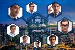 Ridesharing i carpooling pojęcie w mieście ilustracji