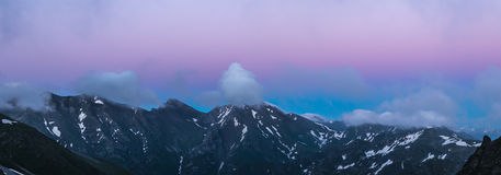 Ridge Abushura Akhuba at dusk. Caucasus Mountains. Royalty Free Stock Image