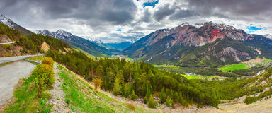 Ridge Farnore (Crete de la Farnore) and Valley city Briancon Royalty Free Stock Photo