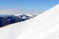 Ridge of Mount San Primo (North Italy). Ridge of Mount San Primo with snow and Alps in background (North Italy Royalty Free Stock Images