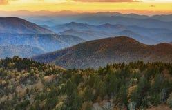 Ridge Mountains Cowee Overlook Sunset azul foto de stock