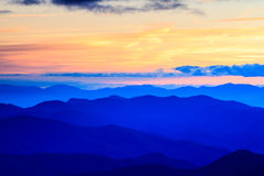 Ridge Mountains Cowee Overlook Sunset azul North Carolina Fotos de Stock Royalty Free