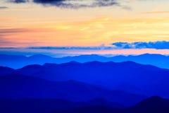Ridge Mountains Cowee Overlook Sunset bleu la Caroline du Nord Photos libres de droits