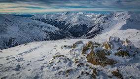 Ridge of mountains in Tatra Mountains in winter Royalty Free Stock Images