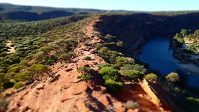 Ridge over Gorge. Ridge line over Gorge with river below in the Australian bush, shot in Miniature Royalty Free Stock Photos