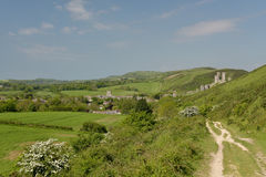 Ridge path above Corfe Castle Stock Photos