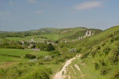 Ridge path above Corfe Castle Royalty Free Stock Photo