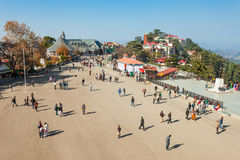 Ridge road, Shimla. SHIMLA, INDIA - NOVEMBER 05, 2015: The Ridge road is a large open space, located in the heart of Shimla, the capital city of Himachal Pradesh Royalty Free Stock Photos